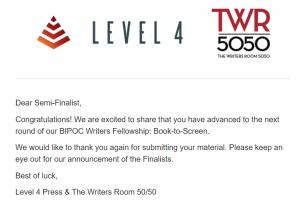 The Writers Room 5050 Level 4 2021 Semi Finalist - Garamba